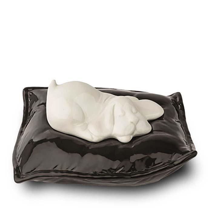 Witte Dieren Urn Slapend Hondje op Kussen (0.8 liter)