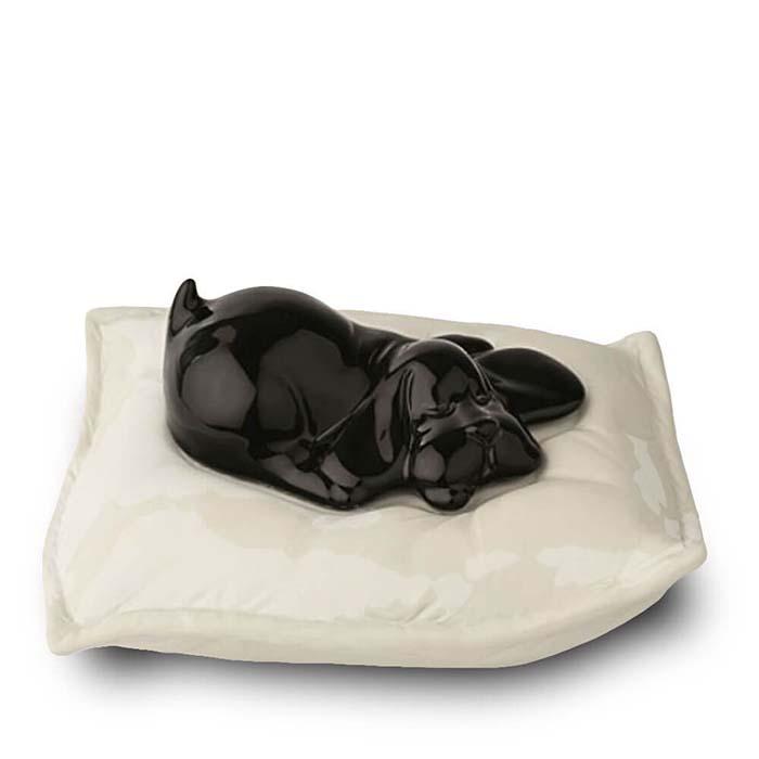 Zwarte Urn Slapende Hond op Kussen (0.8 liter)