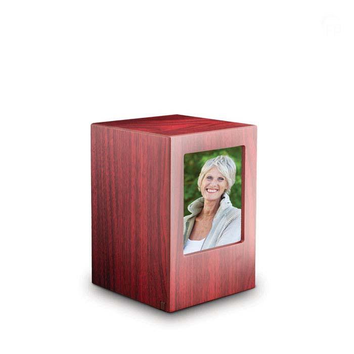 Grote MDF Photobox Dierenurn Mahonie (3.5 liter)
