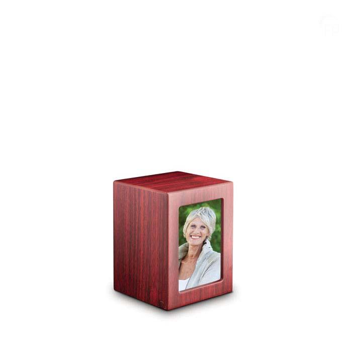 Kleine MDF Photobox Urn Mahonie (1.5 liter)