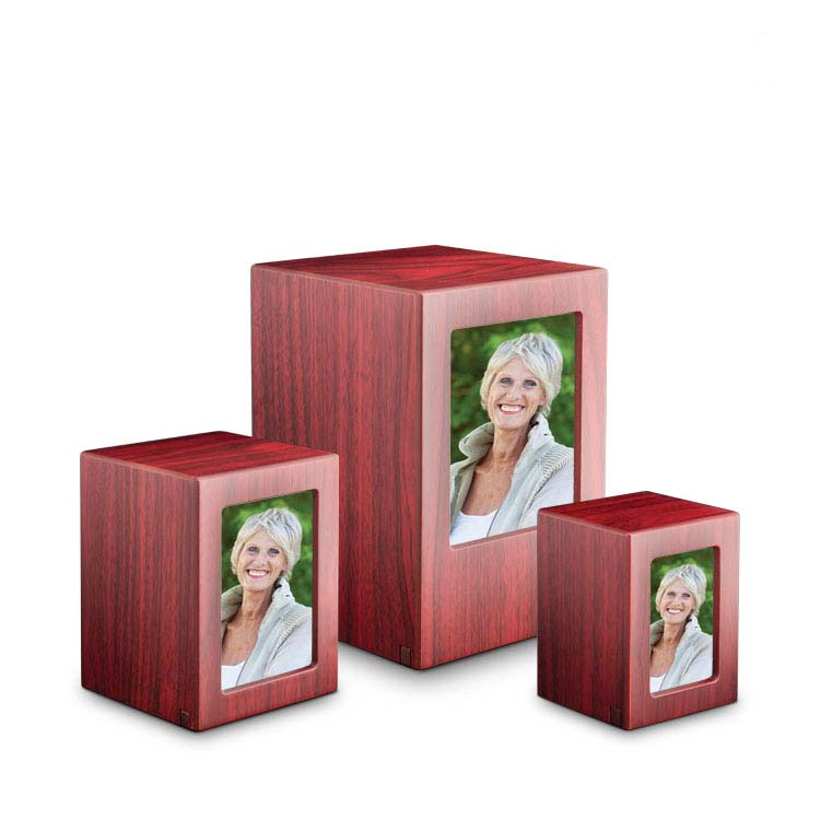 Mini MDF Photobox Dierenurn Mahonie (0.3 liter)