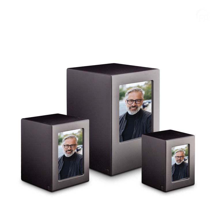 Kleine MDF Photobox Urn Antraciet (1.5 liter)