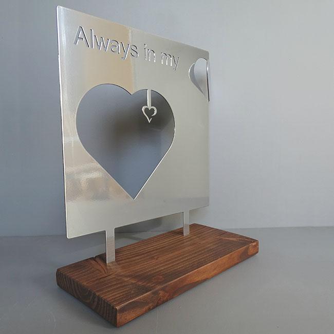 Staand Gedenkaltaar Always in my Heart RVS (28 cm.)