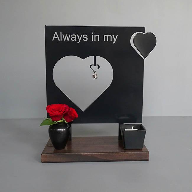 Staand Huisaltaar Always in my Heart Zwart of Wit (28 cm.)