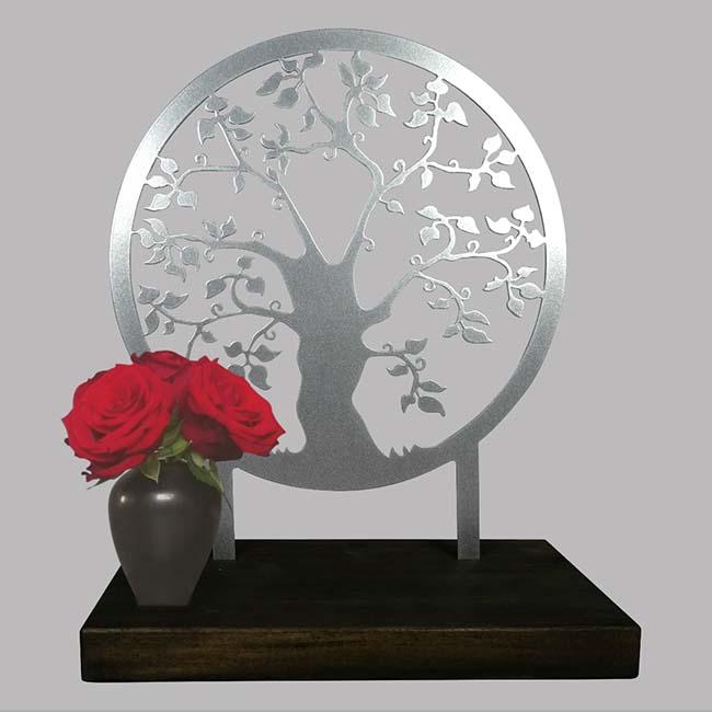 Staand Gedenkaltaar Herinneringsboom RVS (28 cm.)