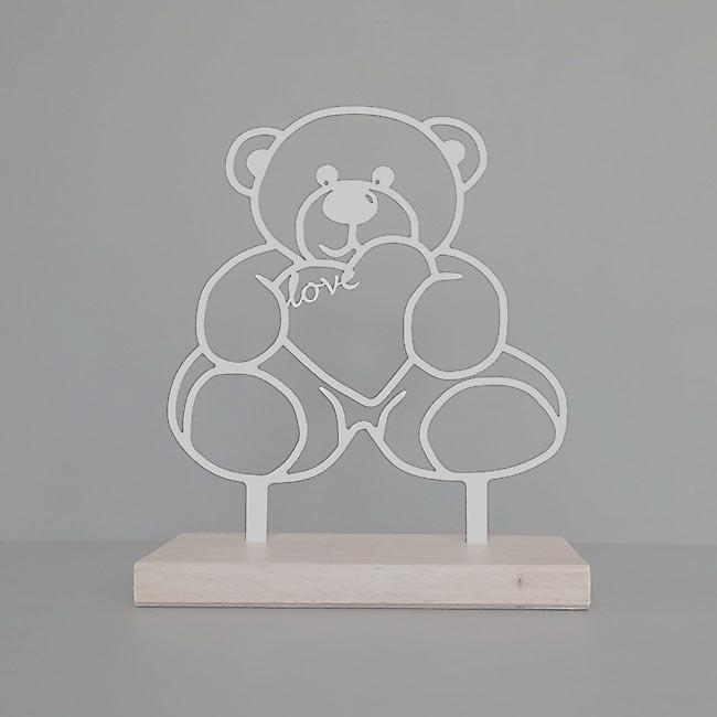 Staand Gedenkaltaar Teddybeer RVS (28 cm.)