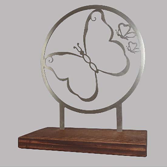 Staand Gedenkaltaar Mijn Vlinder RVS (28 cm.)