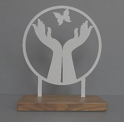 Staand Gedenkaltaar Vrij als een Vlinder RVS (28 cm.)