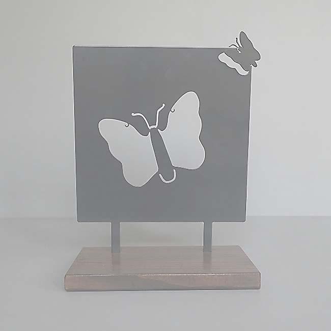Dieren Gedenkaltaar Als Vlinder Weggefladderd, RVS (28 cm.)