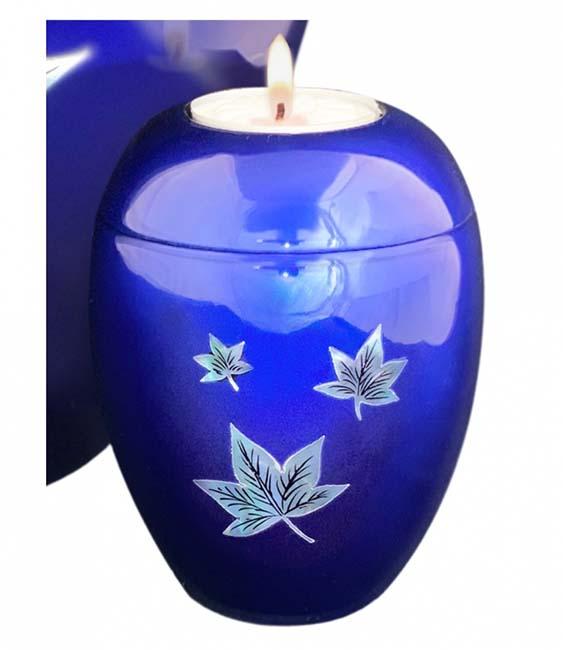 Kleine Kaarshouder Urn Vallende Bladeren Diepblauw (0.1 liter)