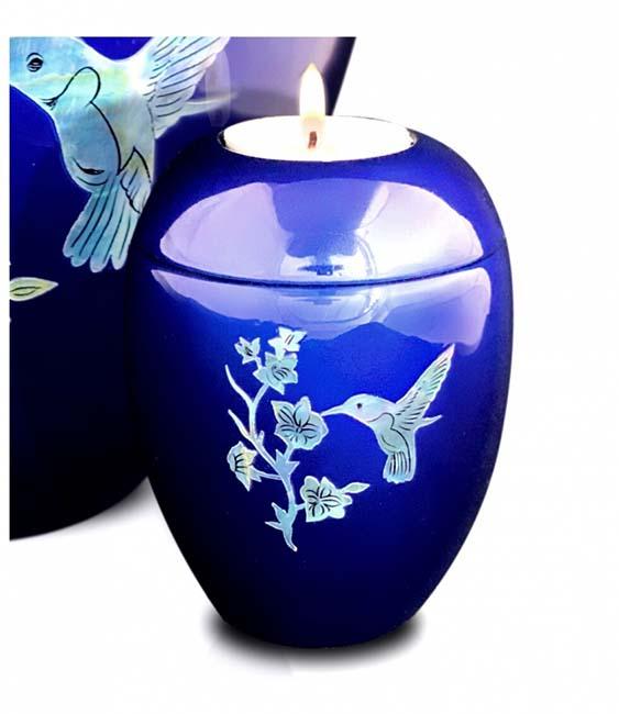 Kleine Kaarshouder Urn Colibri Diepblauw (0.1 liter)