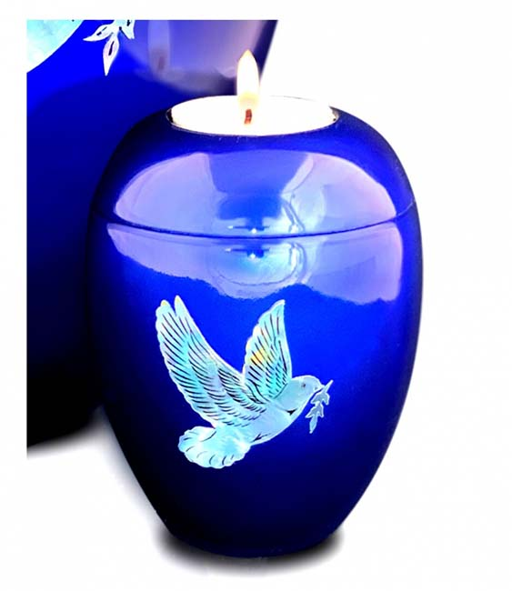 Kleine Kaarshouder Urn Vredesduif Diepblauw (0.1 liter)