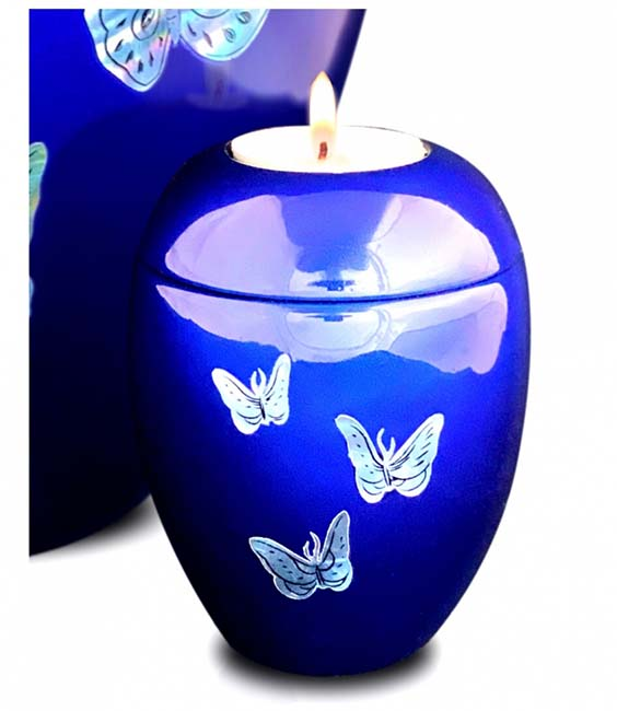 Kleine Kaarshouder Urn Vlinders Diepblauw (0.1 liter)