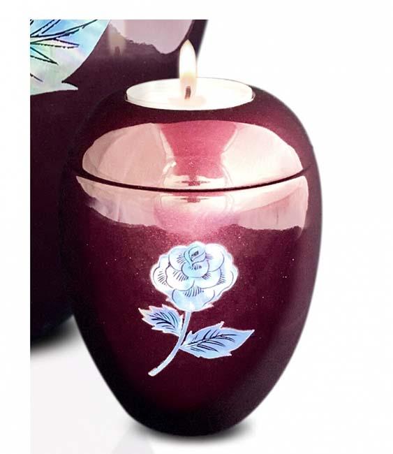 Kleine Kaarshouder Urn Roos Bordeaux (0.1 liter)