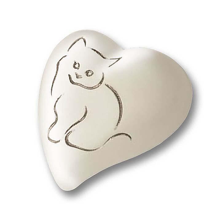 Platte witte Hart Urn, Zilveren Kat (0.8 liter)