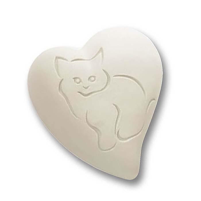 Witte Hart Urn, Ingekerfde Kat (0.8 liter)