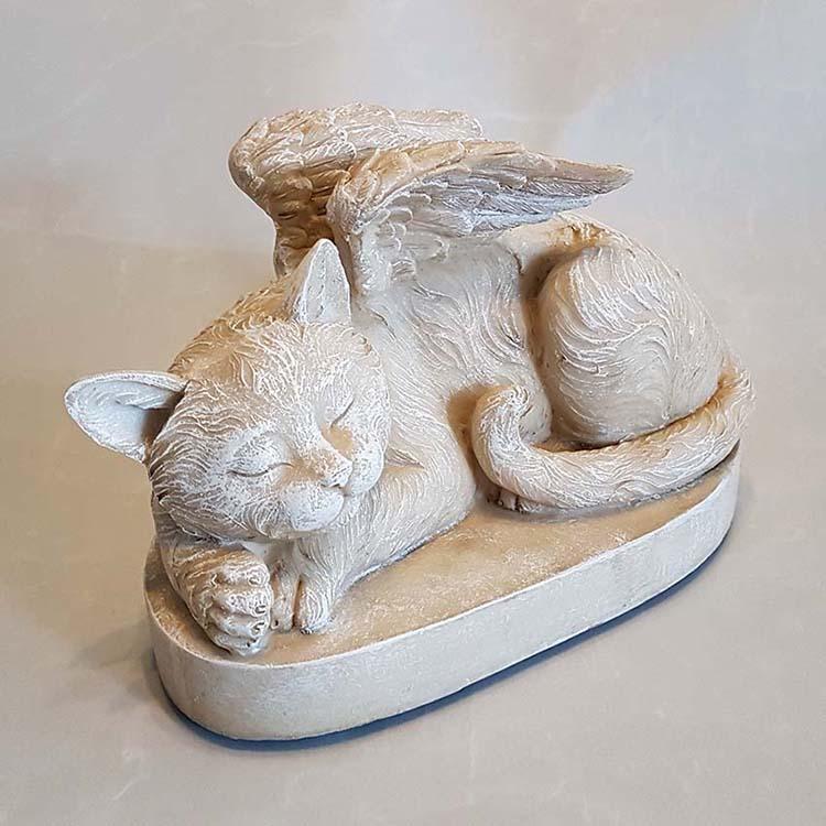 Katten Urn of Katten Asbeeld op Sokkel, Kat met Engel Vleugels (1.5 liter)