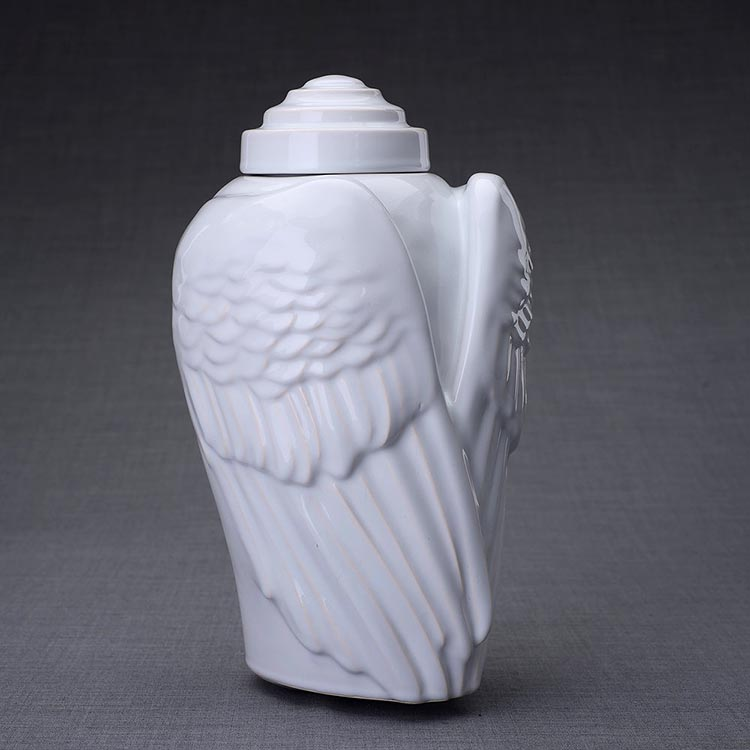 Keramische Crematie As Urn Wings White (3.1 liter)