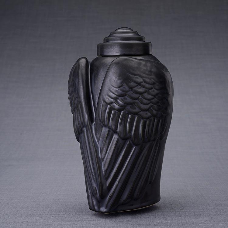Keramische Crematie As Urn Wings Matzwart (3.1 liter)