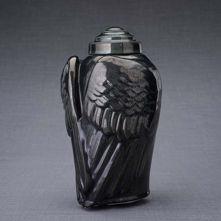 Keramische Crematie As Urn Wings Antraciet (3.1 liter)