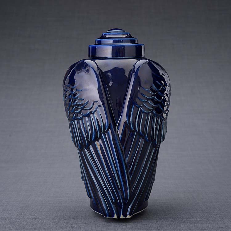 Keramische Crematie As Urn Wings Kobalt Metallic (3.1 liter)