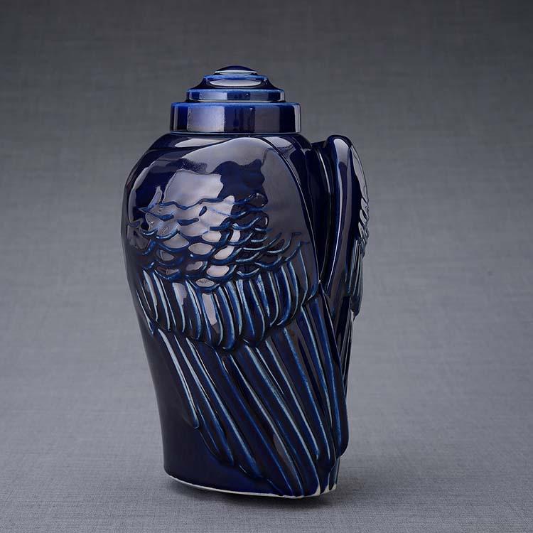 Keramische Crematie As Urn Wings Kobalt Metallic (3.1 liter)