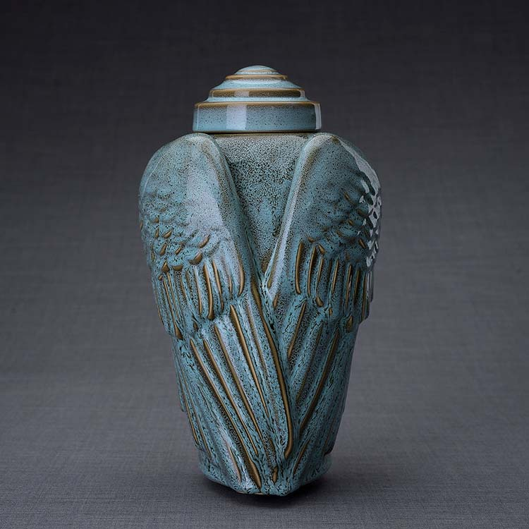 Keramische Crematie As Urn Wings Green Oiled (3.1 liter)
