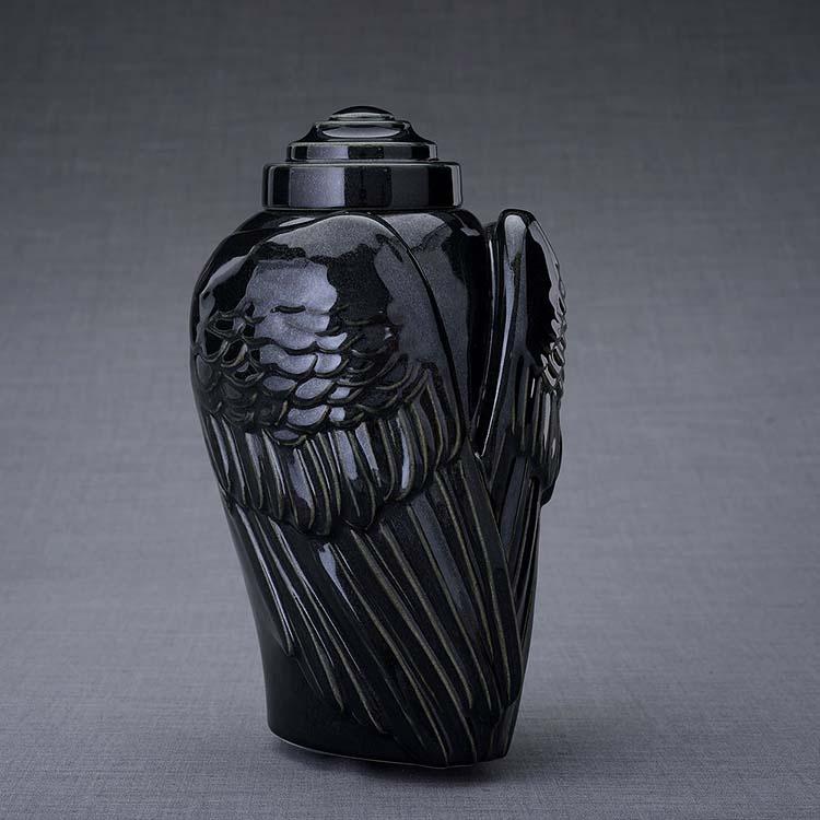 Keramische Crematie As Urn Wings Inktzwart (3.1 liter)
