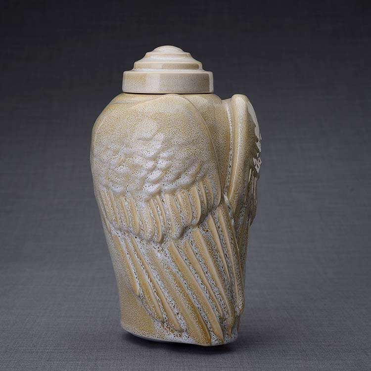 Keramische Crematie As Urn Wings Light Sand (3.1 liter)