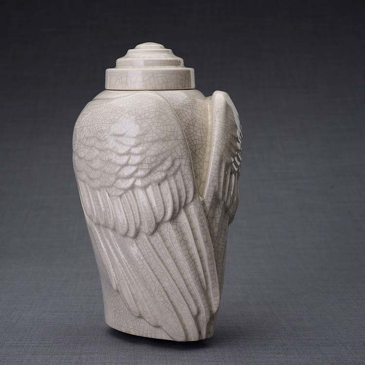 Keramische Crematie As Urn Wings Craquele (3.1 liter)