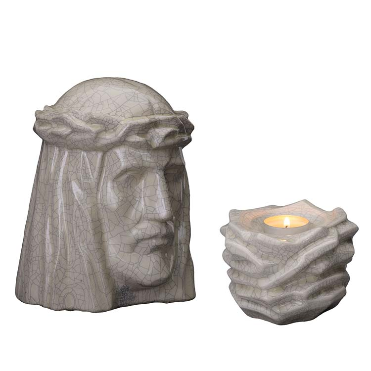 Art Urnen Voordeelset De Christus Craquele (5.1 en 0.4 liter)