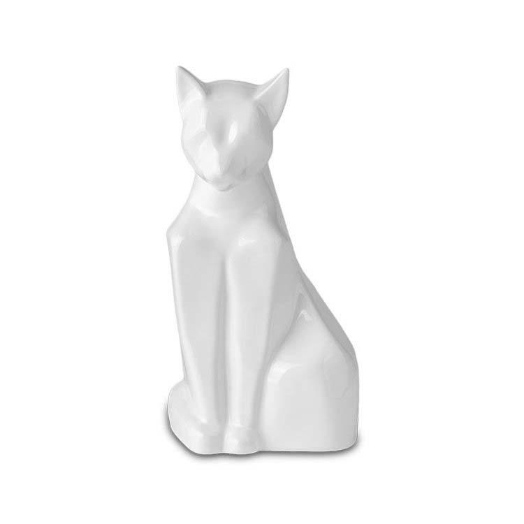 Zittende Kattenurn Misty Glimmend Wit (0.6 liter)