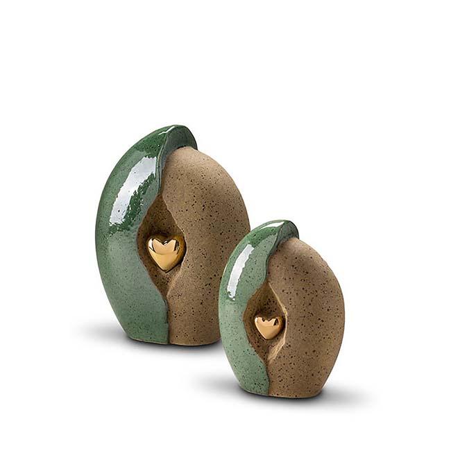 Kleine Keramische Urn Groen-Zand, Gouden Hart (2.2 liter)