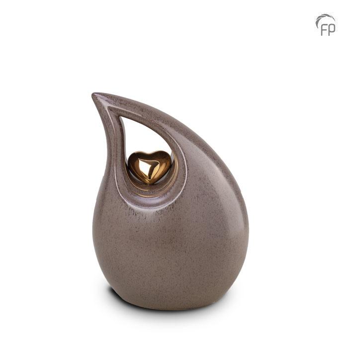 Kleine Keramische Teardrop Urn Grey - Gouden Hart (2.2 liter)
