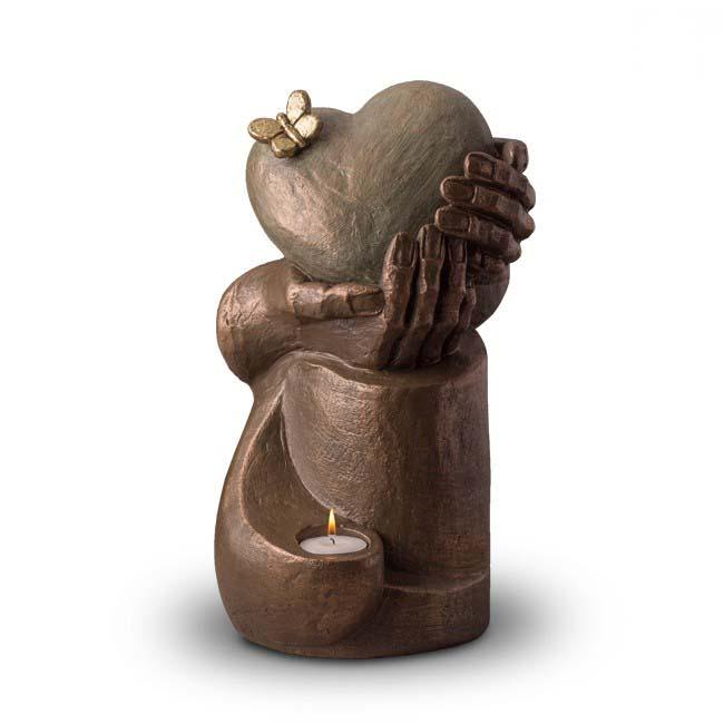 Grote Keramische Art Urn Hartepijn, met Kaarsje (3.5 liter)