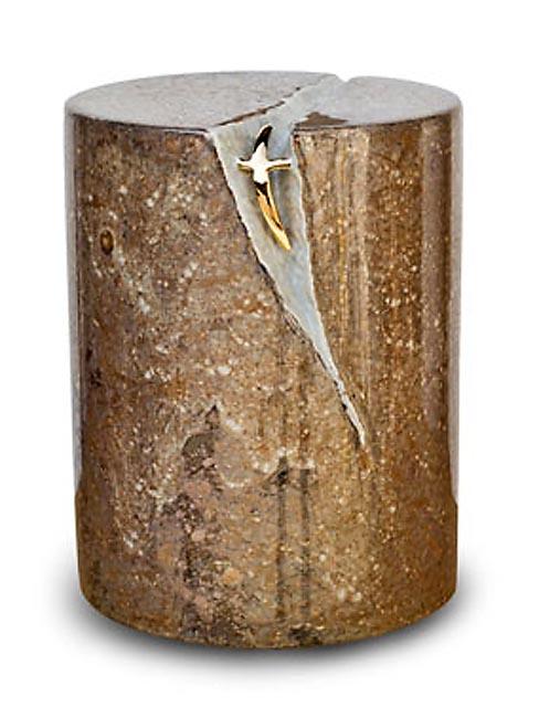 Keramische Urn Beige-Bruin, met Kruis (5 liter)