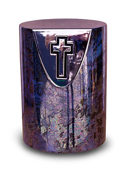 Keramische Urn Oiled Blue, met Kruispreeg (5 liter)