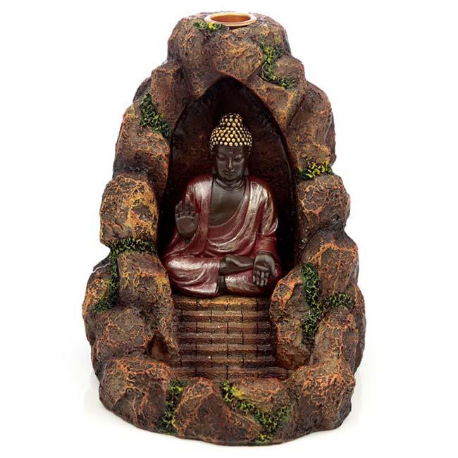 Thaise Boeddha Cave Dierenurn, Backflow Wierookhouder (0.5 l.)