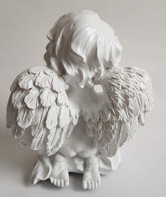 Witte Mini Engel Urn Biddende Cherubijn (0.3 liter)