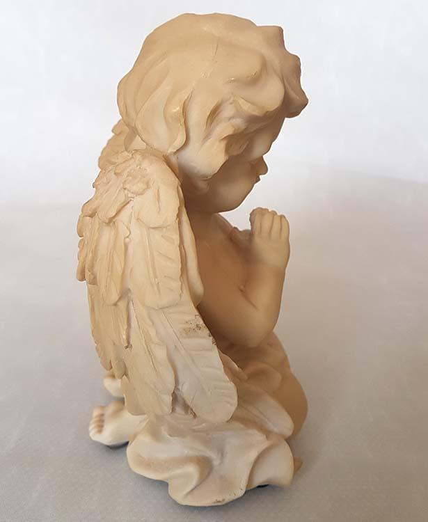 Cremekleurige Mini Engel Urn Biddende Cherubijn (0.3 l.)
