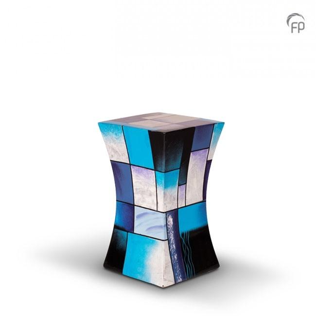 Kleine Diabolo Glasfiber Urn Blauw-Wit (1.1 liter)