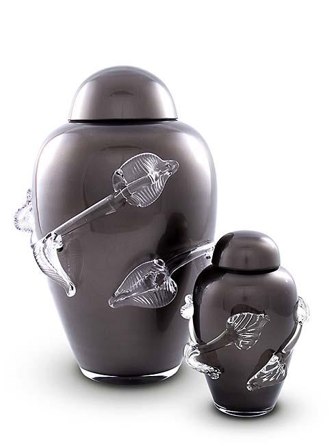 Kleine Kristalglazen Urn Zwart (0.5 liter)