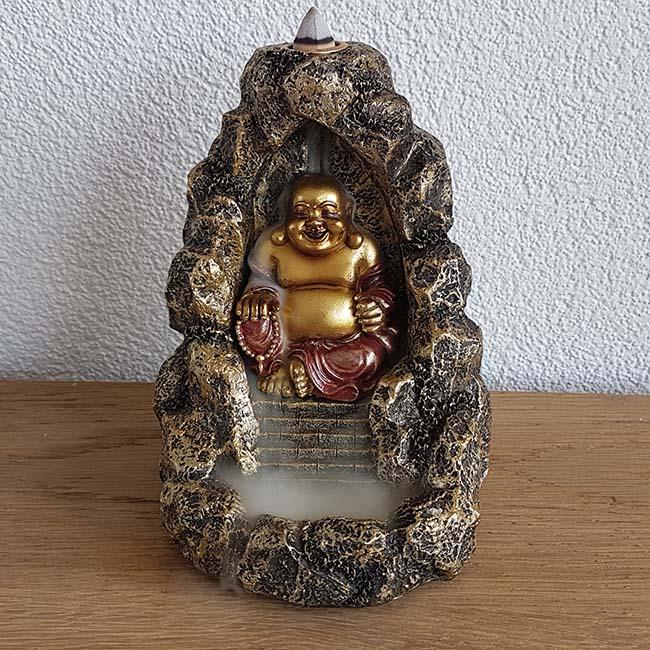 Happy Boeddha Cave Urn, Backflow Wierookhouder (0.5 l.)