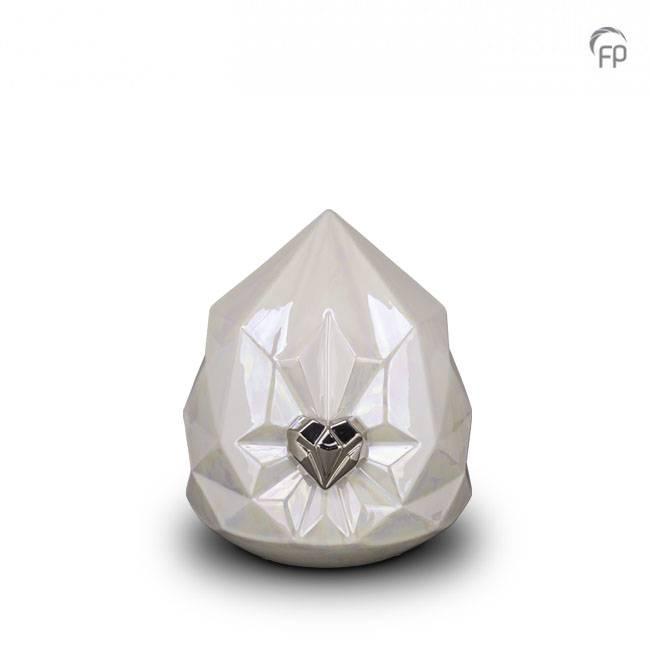 Kleine Whitepearl Keramische Diamant Dierenurn (1.5 liter)