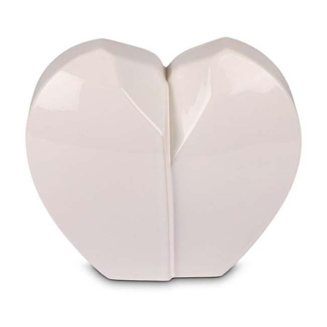 Kleine Witte Keramische Gebroken Hart Dierenurn (1 liter)