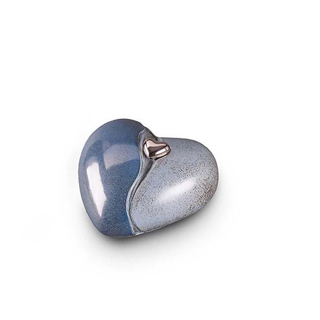 Middelgrote Keramische Hart Dieren Urn Blauwgrijs (1.4 liter)