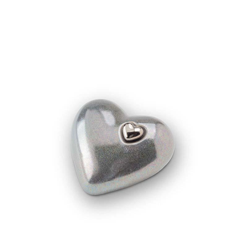 Kleine Keramische Hart Dierenurn Zilvergrijs (0.7 liter)