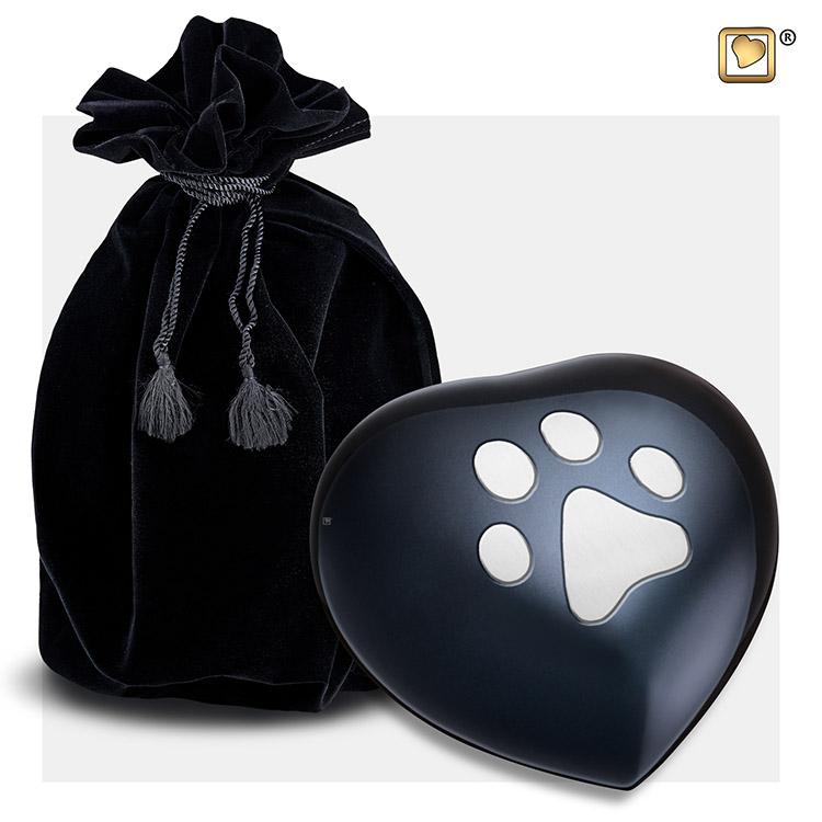 Medium Hart Dierenurn Midnight Black Pootafdruk (0.35 liter)