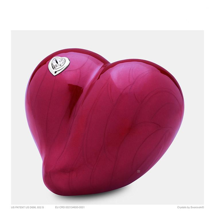 Kleine LoveHeart Urn Rood Gemarmerd met Swarovski (0.65 liter)