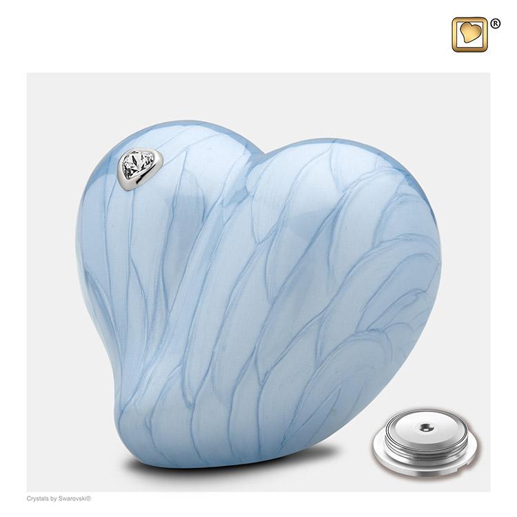 Kleine LoveHeart Dierenurn Blauw Gemarmerd met Swarovski (0.65 liter)